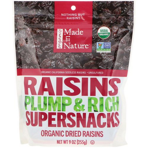 Made in Nature, Organic Dried Raisins, Plump & Rich Supersnacks, 9 oz (255 g) Review