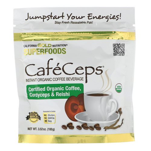 California Gold Nutrition, CafeCeps, Certified Organic Instant Coffee with Cordyceps and Reishi Mushroom Powder, 3.52 oz (100 g) Review
