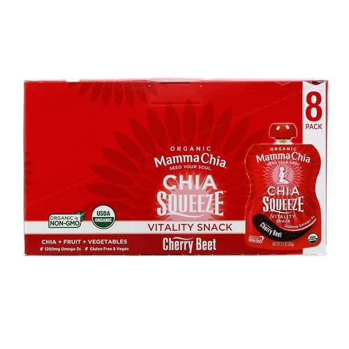 Mamma Chia, Organic Chia Squeeze, Vitality Snack, Cherry Beet, 8 Squeeze, 3.5 oz (99 g) Each Review