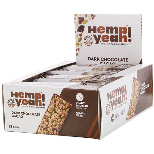 Manitoba Harvest, Hemp Yeah! Protein-Packed Super Seed Bar, Dark Chocolate Cacao, 12 Bars, 1.59 oz (45 g) Each Review