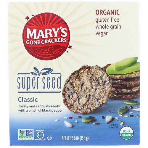 Mary's Gone Crackers, Organic, Super Seed Crackers, Classic, 5.5 oz (155 g) Review