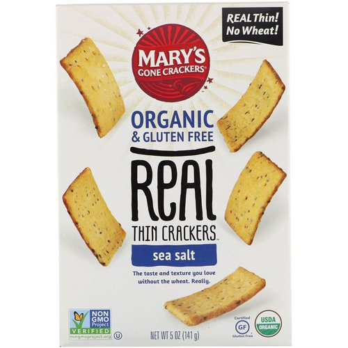 Mary's Gone Crackers, Real Thin Crackers, Sea Salt, 5 oz (141 g) Review