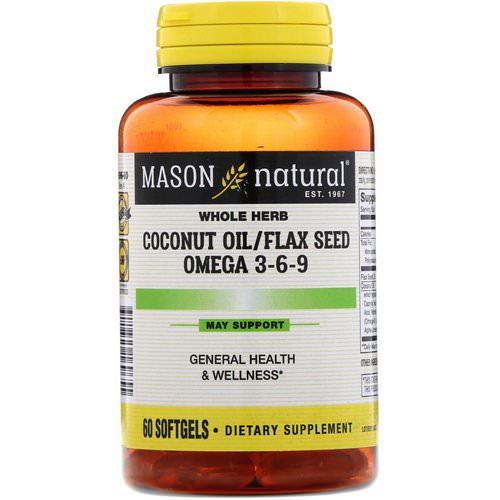 Mason Natural, Coconut Oil / Flax Seed Omega 3-6-9, 60 Softgels Review