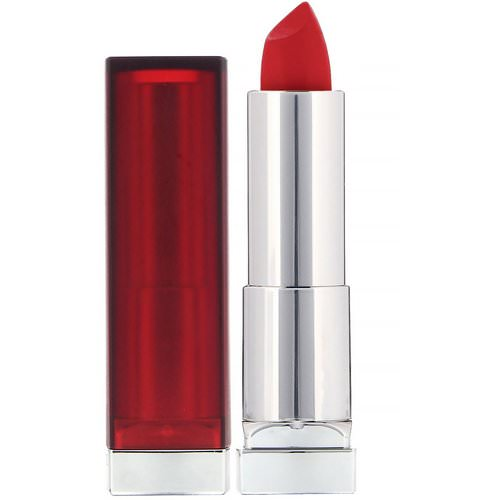Maybelline, Color Sensational, Creamy Matte Lipstick, 690 Siren in Scarlet, 0.15 oz (4.2 g) Review