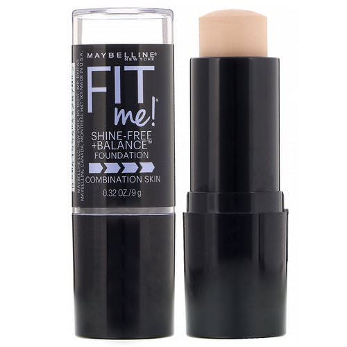 Maybelline, Fit Me, Shine-Free + Balance Stick Foundation, 110 Porcelain, 0.32 oz (9 g) Review