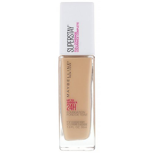 Maybelline, Super Stay, Full Coverage Foundation, 120 Classic Ivory, 1 fl oz (30 ml) Review