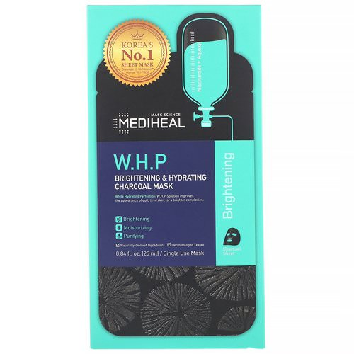Mediheal, W.H.P, Brightening & Hydrating Charcoal Mask, 5 Sheets, 0.84 fl oz (25 ml) Each Review