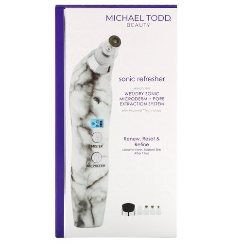 Michael Todd Beauty, Sonic Refresher, Wet/Dry Sonic Microderm + Pore Extraction System, White Marble, 6 Piece Kit Review