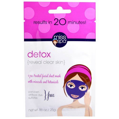 Miss Spa, Detox, Pre-Treated Facial Sheet Mask, 1 Mask Review
