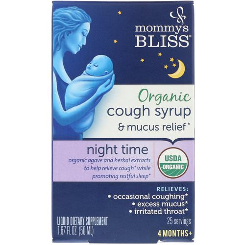 Mommy's Bliss, Organic, Cough Syrup & Mucus Relief, Night Time, 4 Months +, 1.67 fl oz (50 ml) Review