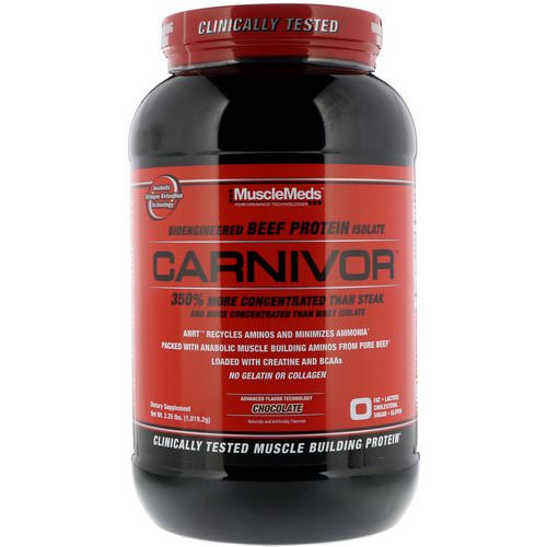 MuscleMeds, Carnivor, Bioengineered Beef Protein Isolate, Chocolate, 2.25 lbs (1,019.2 g) Review