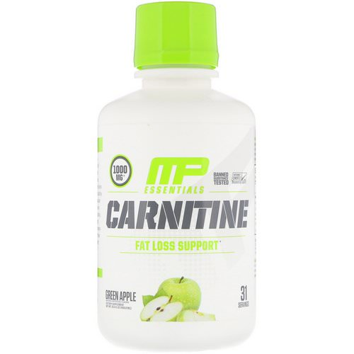 MusclePharm, Carnitine, Fat Loss Support, Green Apple, 1000 mg, 15.5 fl oz (458.8 ml) Review