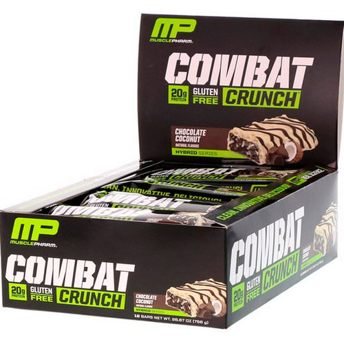 MusclePharm, Combat Crunch, Chocolate Coconut, 12 Bars, (63 g) Each Review