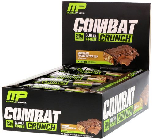 MusclePharm, Combat Crunch, Chocolate Peanut Butter Cup, 12 Bars, 63 g Each Review