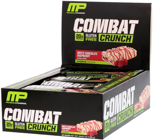 MusclePharm, Combat Crunch, White Chocolate Raspberry, 12 Bars, 2.22 oz (63 g) Each Review