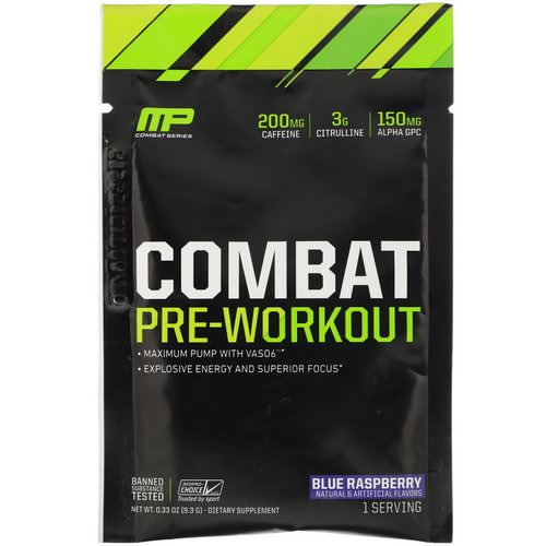MusclePharm, Combat Pre-Workout, Blue Raspberry, 0.33 oz (9.3 g) Trial Size Review