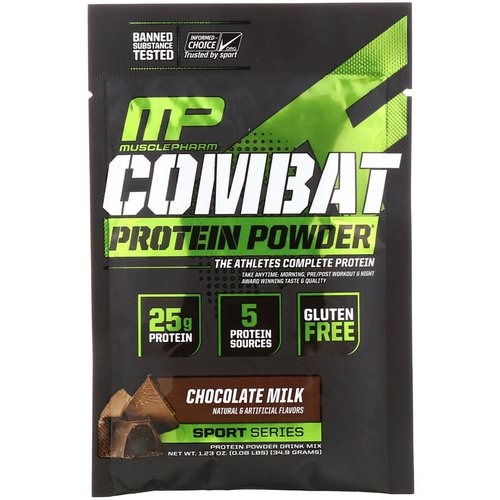 MusclePharm, Combat Protein Powder, Chocolate Milk, 1.23 oz (34.9 g) Trial Size Review