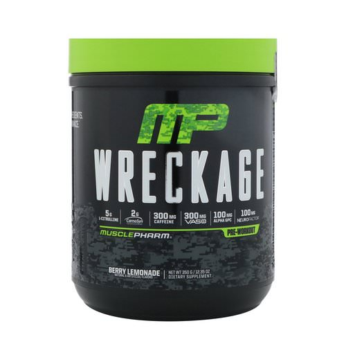 MusclePharm, Wreckage Pre-Workout, Berry Lemonade, 12.35 oz (350 g) Review