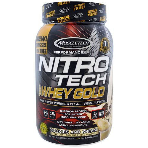 Muscletech, Nitro Tech, 100% Whey Gold, Cookies And Cream, 2.20 lbs (999 g) Review
