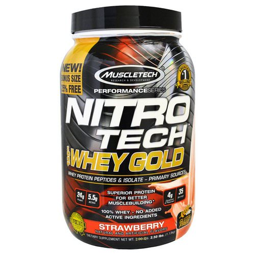 Muscletech, Nitro Tech, 100% Whey Gold, Strawberry, 2.20 lbs (999 g) Review