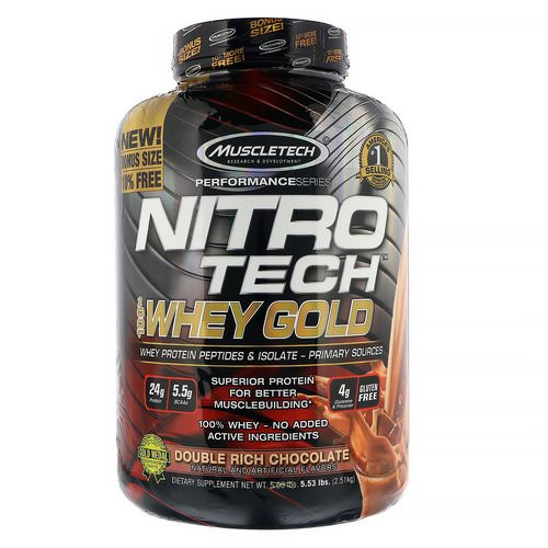 Muscletech, Nitro Tech, 100% Whey Gold, Whey Protein Powder, Double Rich Chocolate, 5.53 lbs (2.51 kg) Review