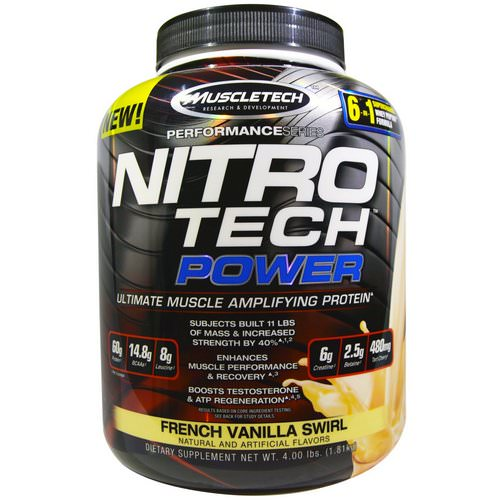 Muscletech, Nitro Tech Power, Ultimate Muscle Amplifying Protein, French Vanilla Swirl, 4.00 lbs (1.81 kg) Review