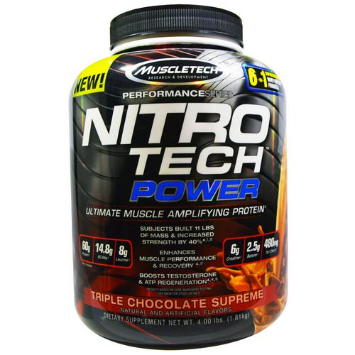 Muscletech, Nitro Tech Power, Ultimate Muscle Amplifying Whey Protein Powder, Triple Chocolate Supreme, 4.00 lbs (1.81 kg) Review
