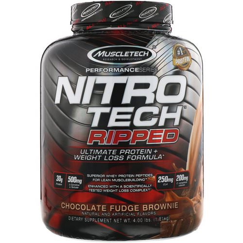 Muscletech, Nitro Tech Ripped, Ultimate Protein + Weight Loss Formula, Chocolate Fudge Brownie, 4 lbs (1.81 kg) Review