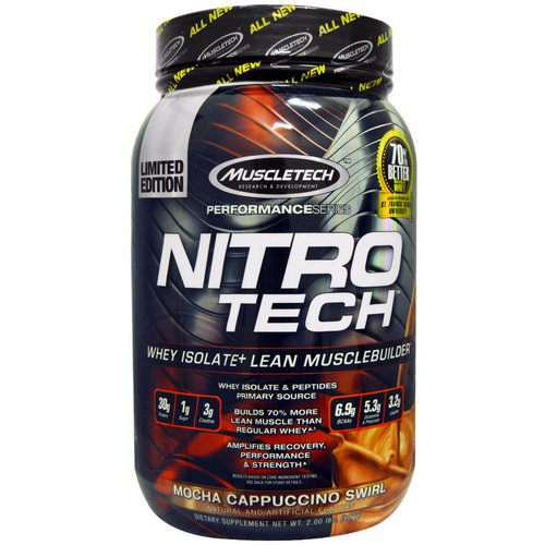 Muscletech, Nitro Tech Whey Isolate + Lean Musclebuilder, Mocha Cappuccino Swirl, 2.00 lbs (907 g) Review