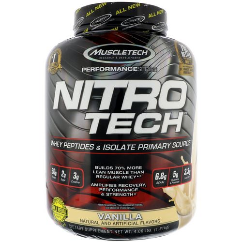 Muscletech, Nitro Tech, Whey Peptides & Isolate Primary Source, Vanilla, 4 lbs (1.81 kg) Review