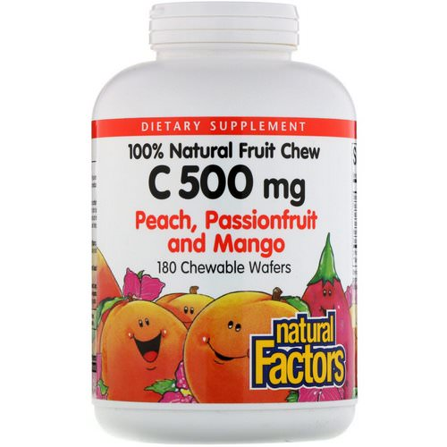 Natural Factors, 100% Natural Fruit Chew C, Peach, Passionfruit and Mango Flavor, 500 mg, 180 Chewable Wafers Review
