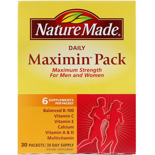 Nature Made, Daily Maximin Pack, Multivitamin and Mineral, 6 Supplements Per Packet, 30 Packets Review
