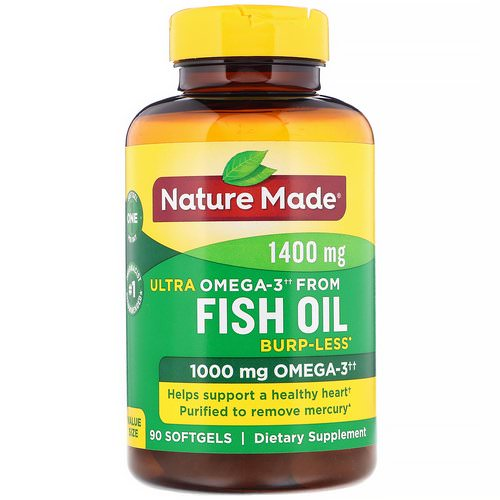 Nature Made, Fish Oil, Ultra Omega-3, Burp-Less, 1,400 mg, 90 Softgels Review