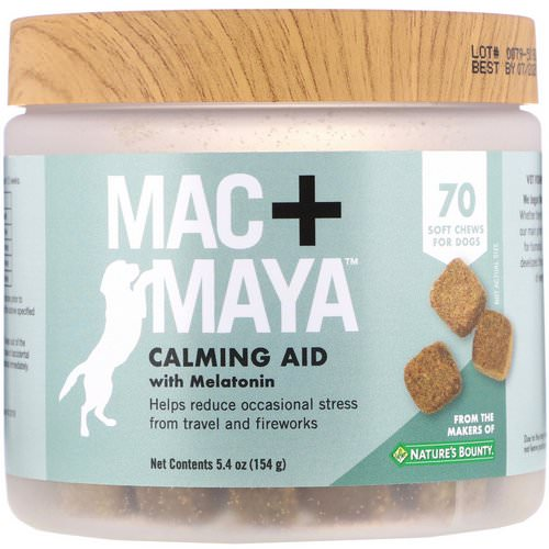 Nature's Bounty, Mac + Maya, Calming Aid with Melatonin, For Dogs, 70 Soft Chews Review