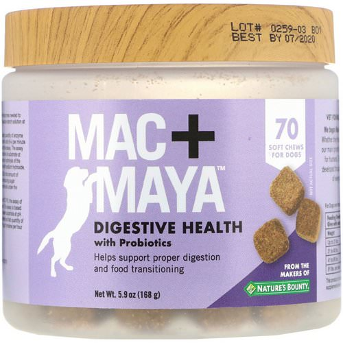 Nature's Bounty, Mac + Maya, Digestive Health with Probiotics, For Dogs, 70 Soft Chews Review