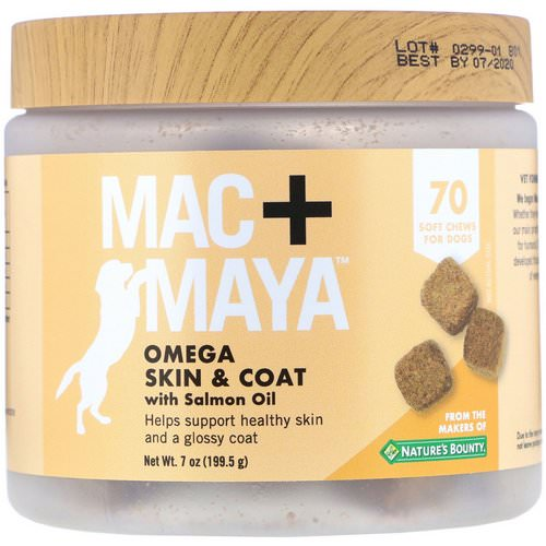 Nature's Bounty, Mac + Maya, Omega Skin & Coat with Salmon Oil, For Dogs, 70 Soft Chews Review
