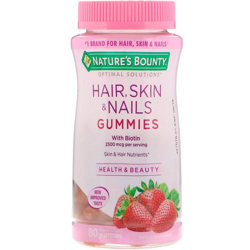 Nature's Bounty, Optimal Solutions, Hair, Skin & Nails, Strawberry Flavored, 80 Gummies Review