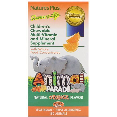 Nature's Plus, Source of Life, Animal Parade, Children's Chewable Multi-Vitamin and Mineral Supplement, Natural Orange Flavor, 180 Animals Review