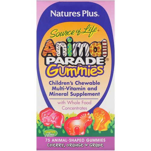 Nature's Plus, Source of Life, Animal Parade Gummies, Children's Chewable, Cherry, Orange & Grape, 75 Animal-Shaped Gummies Review