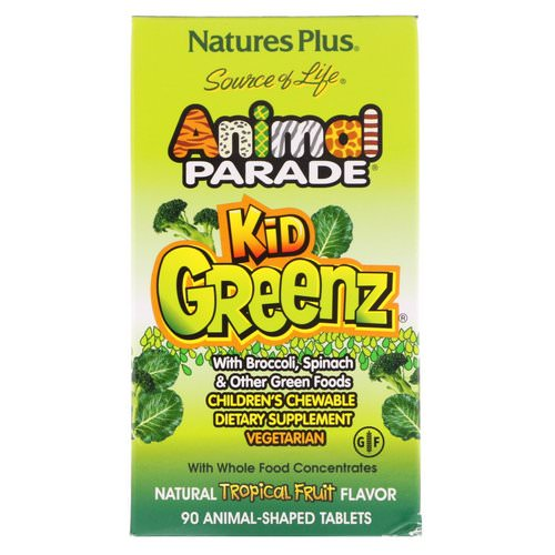 Nature's Plus, Source of Life, Animal Parade, Kid Greenz with Broccoli, Spinach, Natural Tropical Fruit Flavor, 90 Animal-Shaped Tablets Review