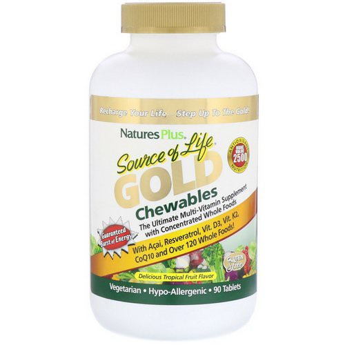 Nature's Plus, Source of Life, Gold Chewables, Delicious Tropical Fruit Flavor, 90 Tablets Review