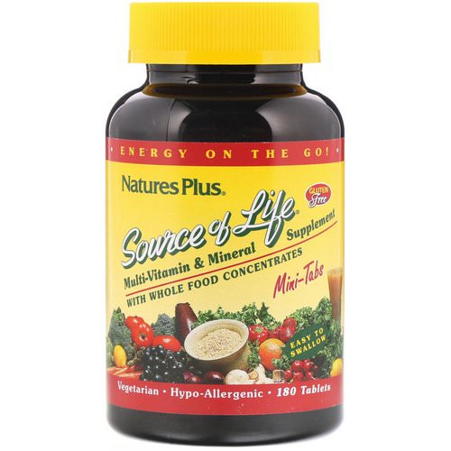 Nature's Plus, Source of Life, Multi-Vitamin & Mineral Supplement with Whole Food Concentrates, 180 Mini Tablets Review