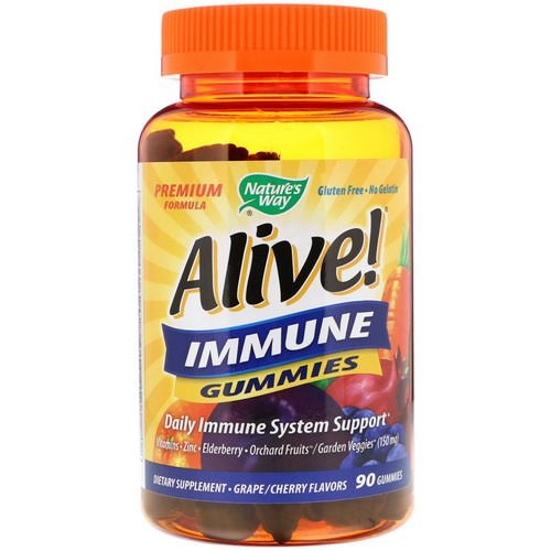 Nature's Way, Alive! Immune Gummies, Grape/Cherry Flavors, 90 Gummies Review