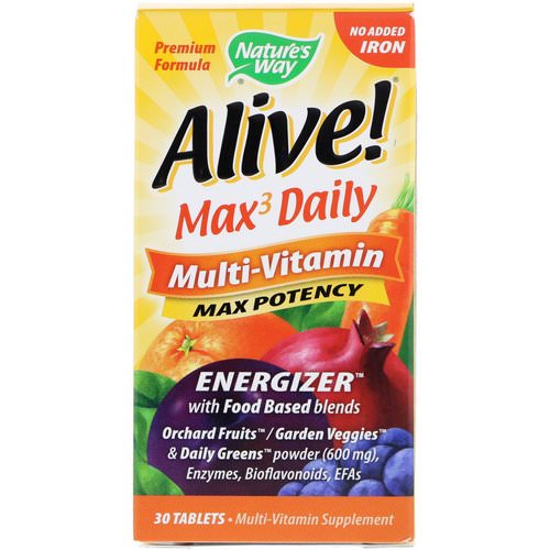 Nature's Way, Alive! Max3 Daily, Multi-Vitamin, No Added Iron, 30 Tablets Review