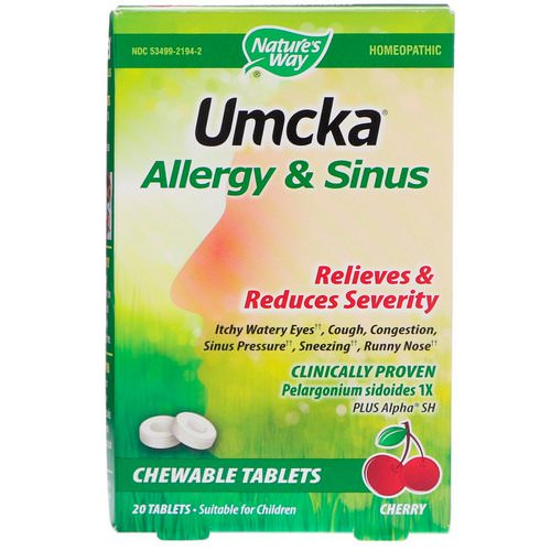 Nature's Way, Umcka, Allergy & Sinus, Cherry, 20 Tablets Review