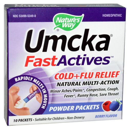 Nature's Way, Umcka, Fast Actives, Cold + Flu Relief, Non-Drowsy, Berry Flavor, 10 Powder Packets Review