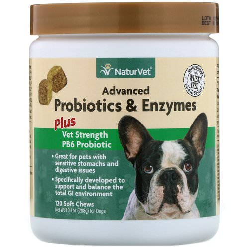 NaturVet, Advanced Probiotics and Enzymes, Plus Vet Strength PB6 Probiotic for Dogs, 120 Soft Chews Review