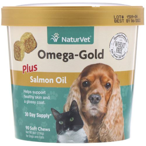 NaturVet, Omega-Gold, Plus Salmon Oil, For Dogs & Cats, 90 Soft Chews Review
