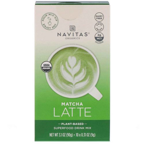 Navitas Organics, Latte Superfood Drink Mix, Matcha, 10 Packets, 0.31 oz (9 g) Each Review