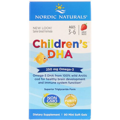 Nordic Naturals, Children's DHA, Strawberry, 250 mg, 90 Mini Soft Gels Review